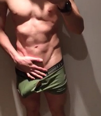 Shorts guy jerking his dick on cam