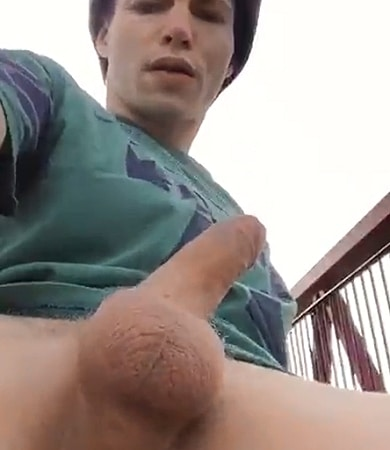 Horny guy with tattooes beating off